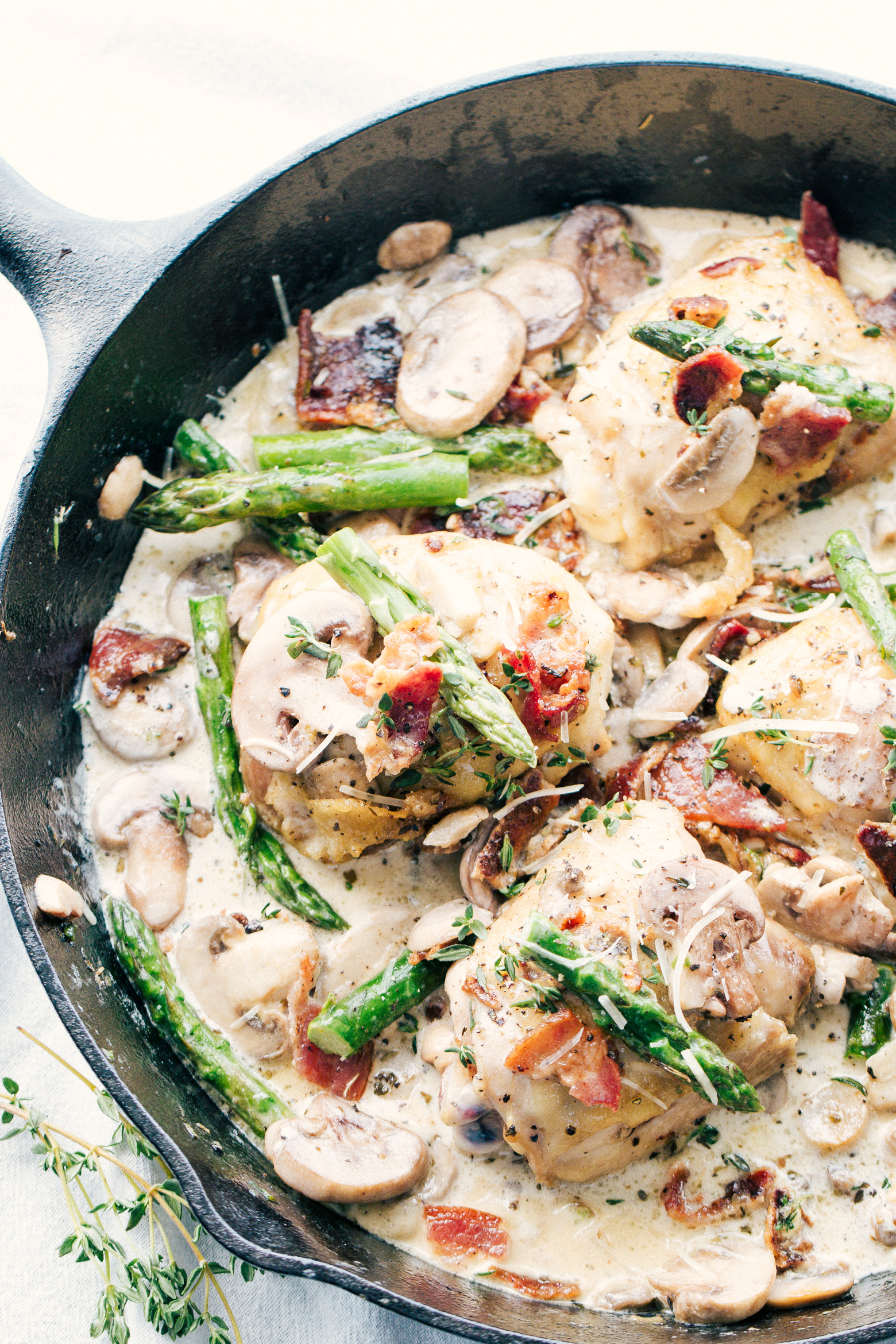 chicken mushroom asparagus skillet in a creamy parmesan sauce made in one pot by The Food Cafe.