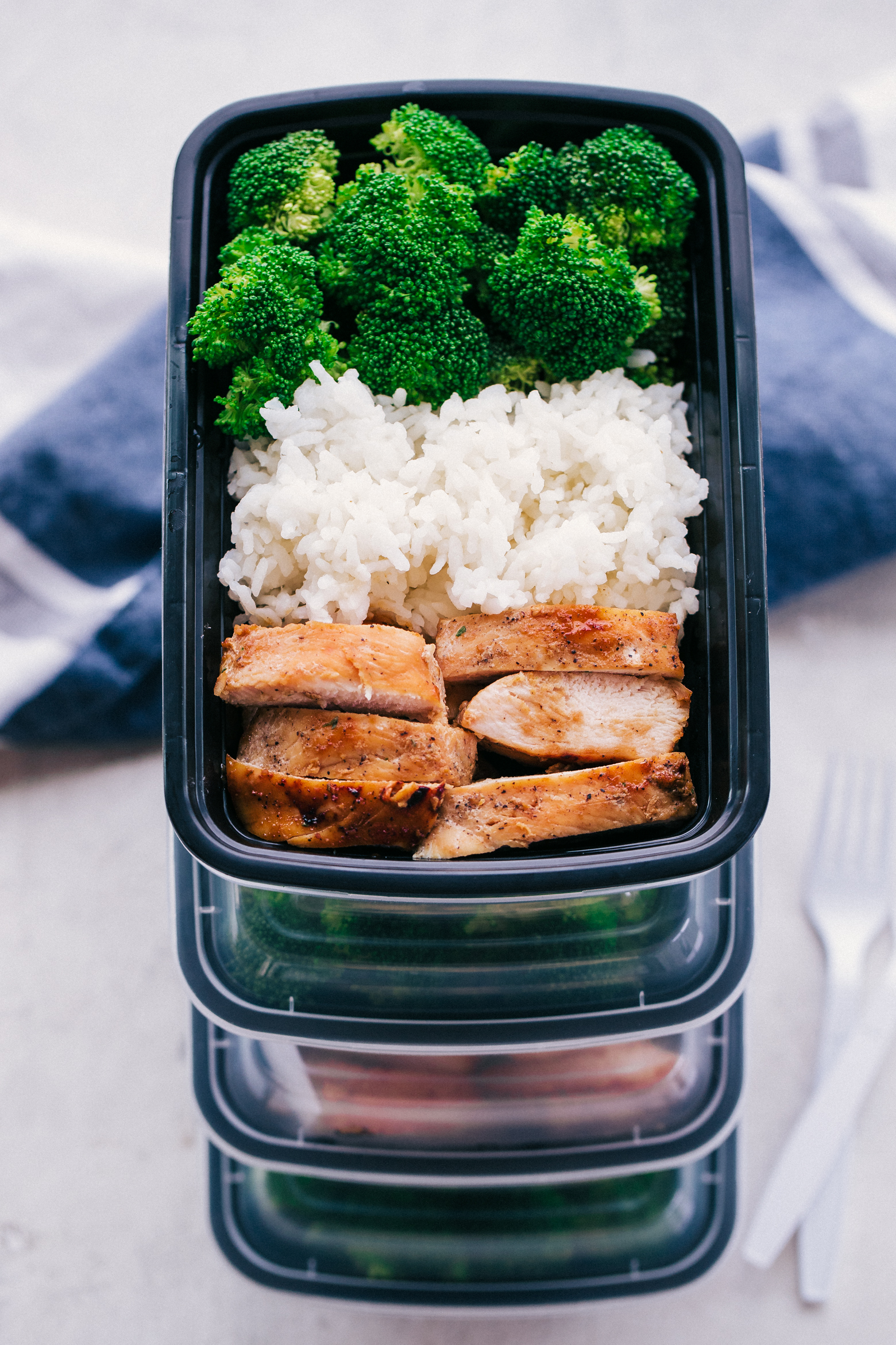 meal prep ideas with teriyaki chicken, white rice and steamed broccoli by The Food Cafe.