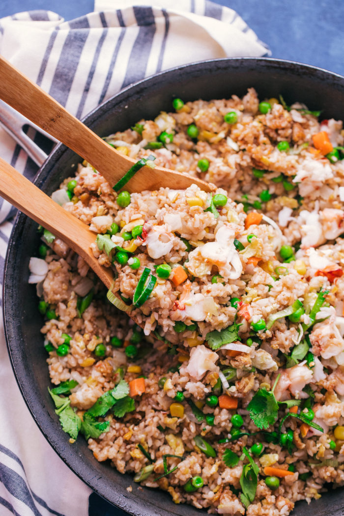 Fried Rice with lobster in a skillet by The Food Cafe.