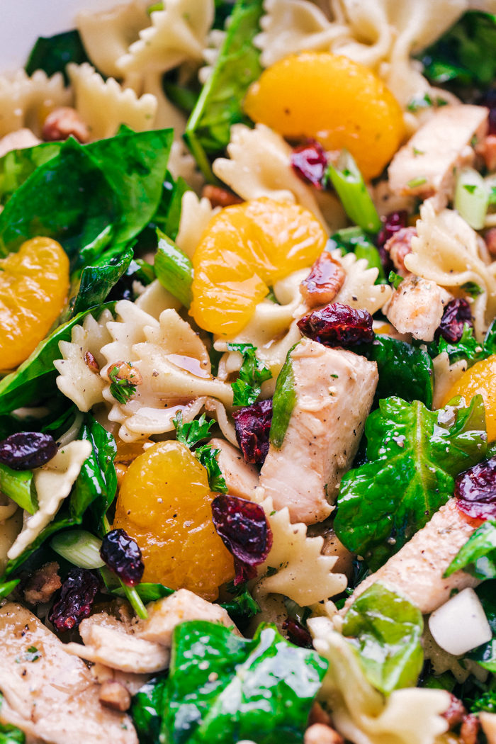 spinach chicken pasta salad served with a light dressing perfect for a delicious lunch by The Food Cafe.