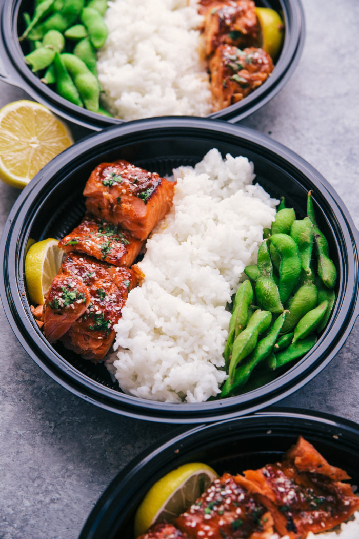 meal prep recipes with maple glazed salmon, white rice and edamame, by The Food Cafe.