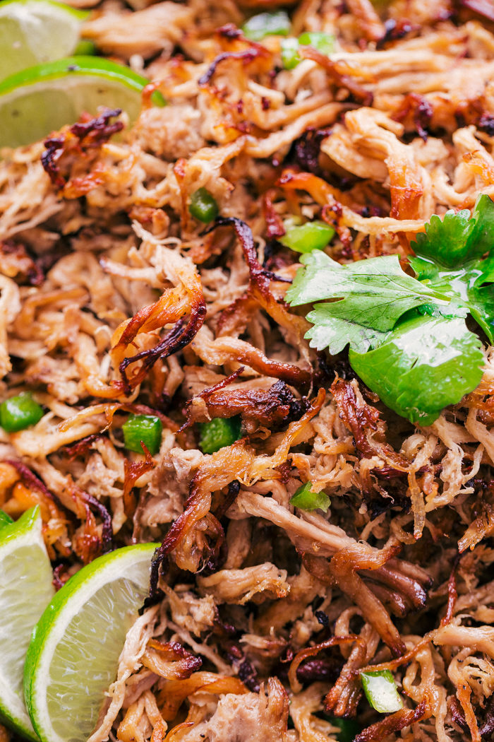 Pork carnitas meat close up with cilantro and fresh slices of lime, perfect weeknight meal by The Food Cafe.