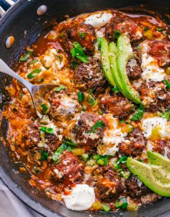 Enchilada Meatball Skillet