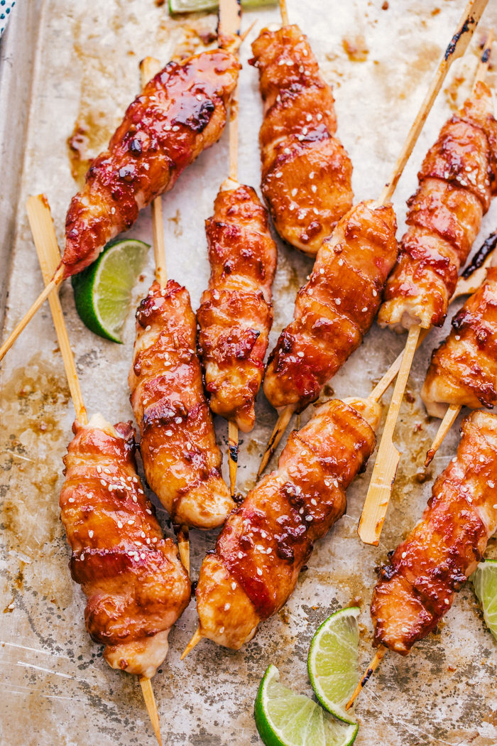 Honey Garlic Bacon Wrapped Chicken Kabobs The Food Cafe