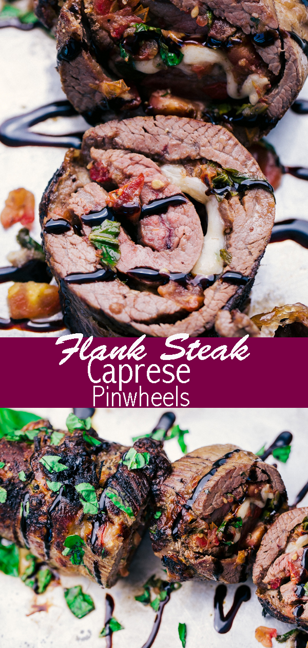 Flank Steak Caprese Pinwheels are filled with an amazing Caprese salsa all rolled up and sliced into the perfect pin wheel of flavor and topped of with a decadent balsamic glaze.