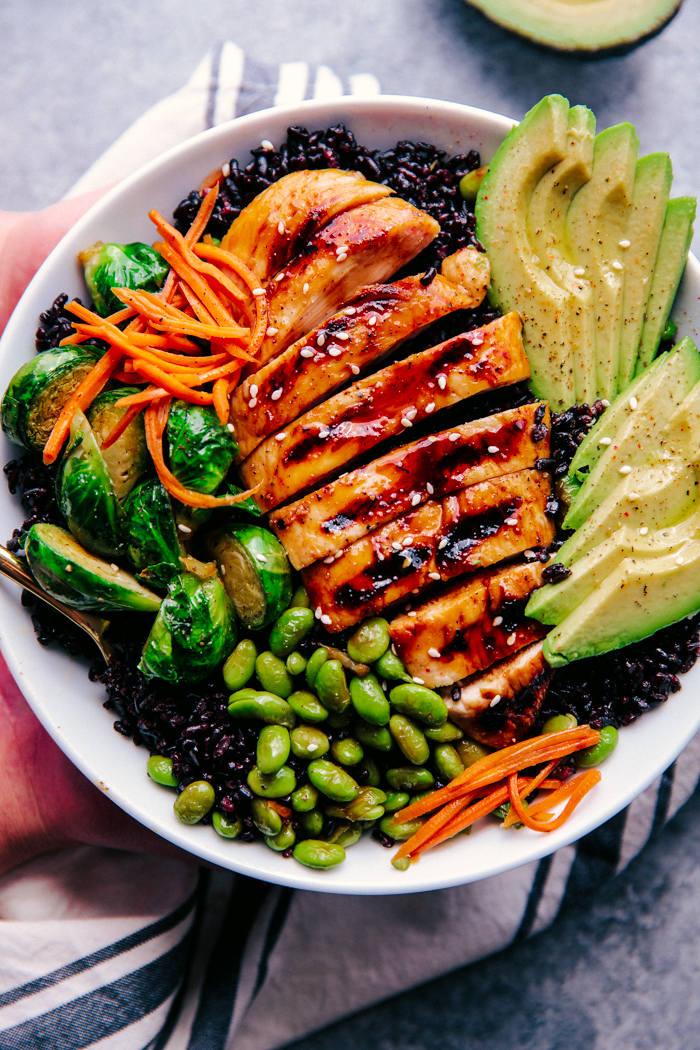 Teriyaki Chicken Bowls With Black Rice The Food Cafe Just Say Yum