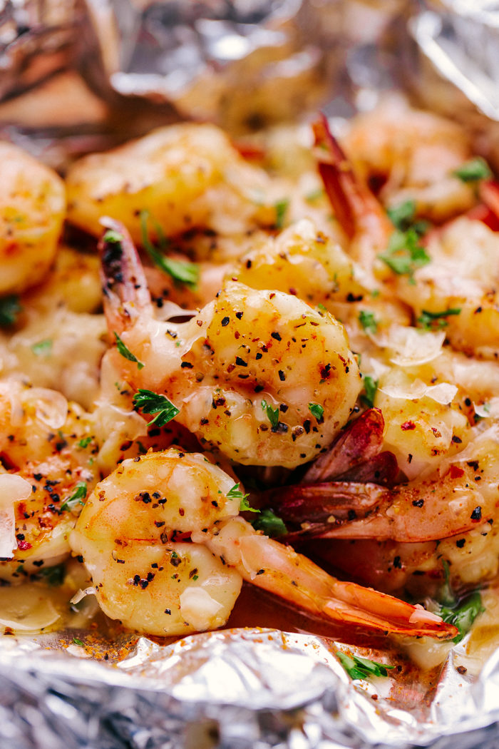Parmesan Garlic Butter Shrimp with melted parmesan cheese