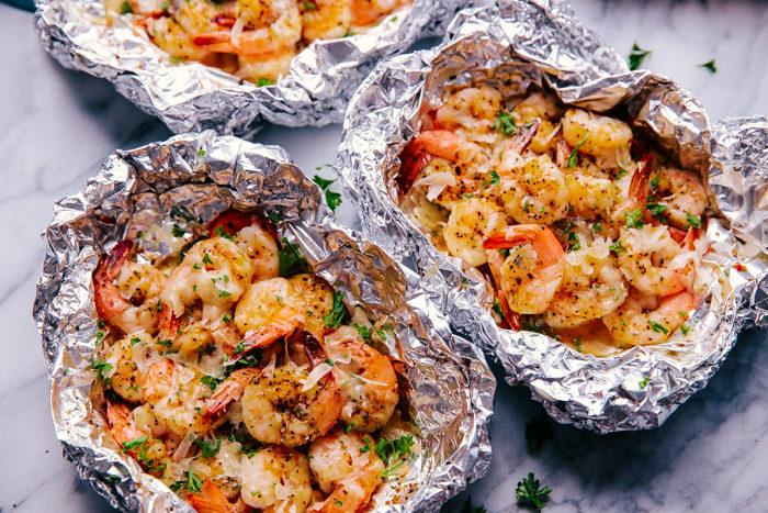 Parmesan Garlic Butter Shrimp in foil packets
