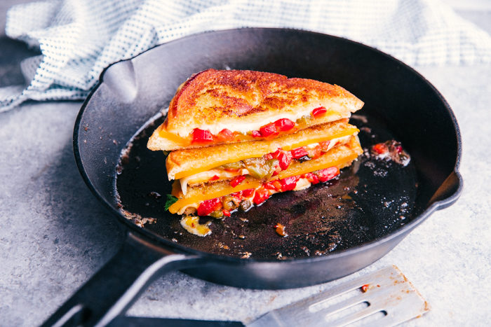 Grilled Cheese Sandwich stacked in a skillet