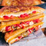 Grilled cheese sandwich with melted pepper jack and cheddar cheese