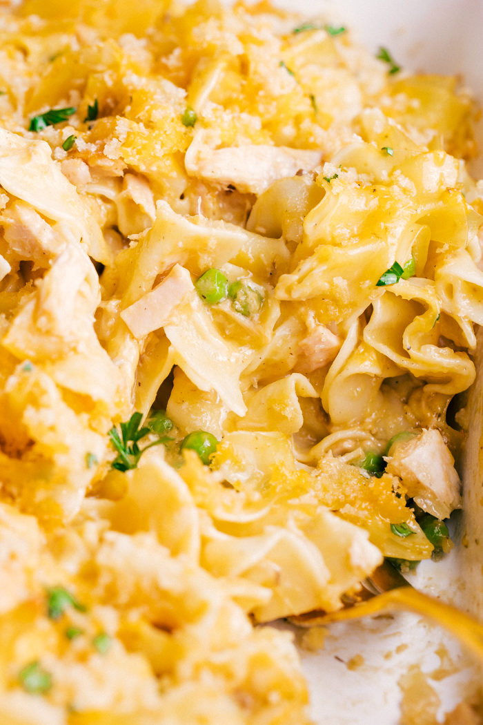 Easy Tuna Noodle Casserole with gold fork