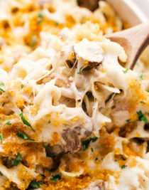 Easy Creamy Chicken Mushroom Casserole being served with a spoon