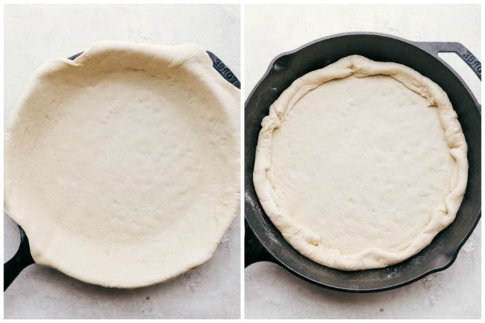 Two images showing how to make a cast iron skillet pizza. The image on the left shows the store bought dough over the top of the skillet, the image on the right shows how to fold the dough down and inward to form a crust to make meatball pizza by the food cafe.