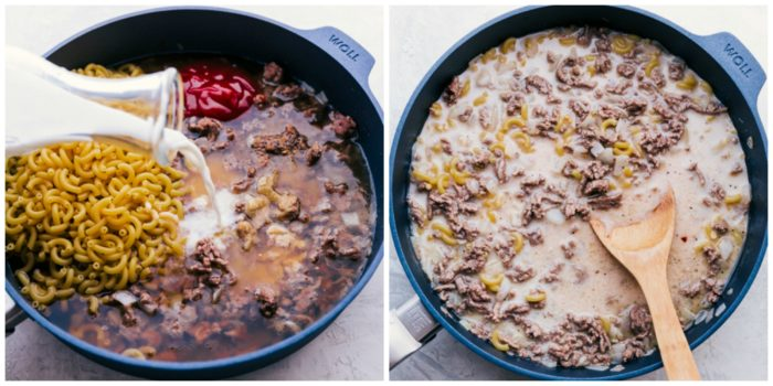 Step 2 in making cheeseburger macaroni. The image on the left shows the milk being poured into the skillet with the other ingredients, and the image on the right shows all the ingredients mixed together in the skillet with a wooden spoon, by The Food Cafe.