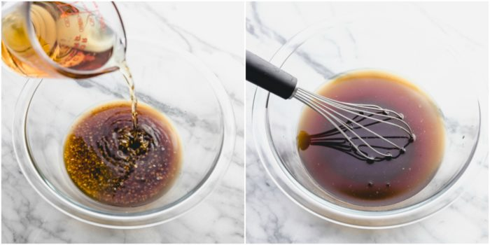 Step 3 to making pan seared top sirloin on the stovetop. Two images, the one on the right showing the ingredients to make bourbon sauce being poured in a clear glass bowl. The image on the left is the bourbon sauce mixed ready to be poured on top sirloin, by the food cafe.