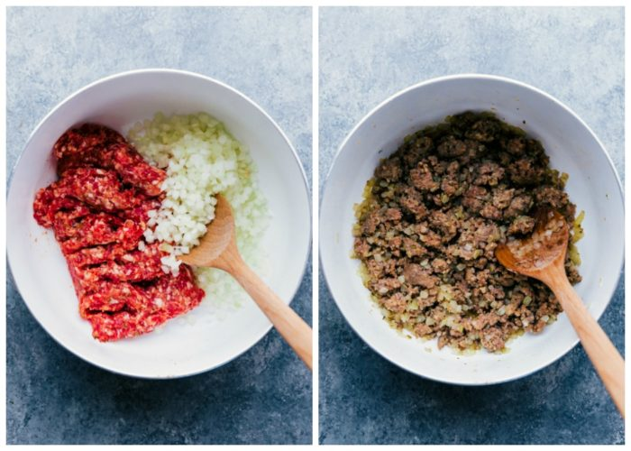 Step on making sausage tortellini soup. The image on the left is in a white saucepan with ground sausage and onion, the image on the right is in same saucepan with ingredients cooked, by The Food Cafe