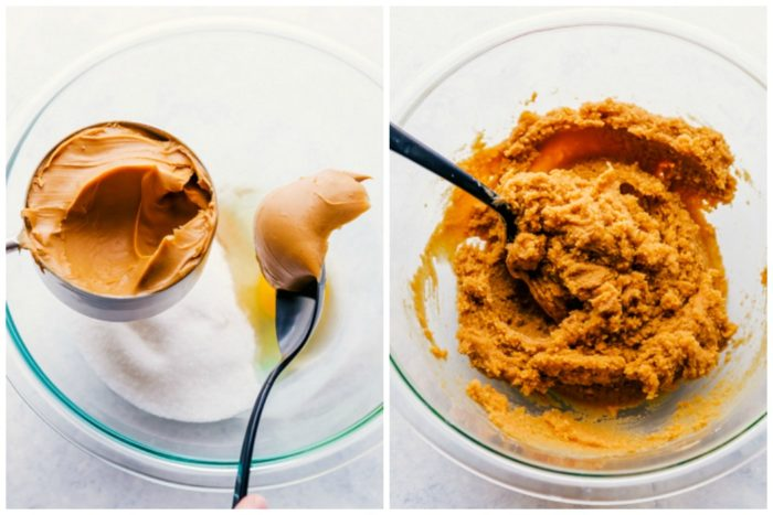 Two images of peanut butter thumbprint cookies being made. Image on the left shows all the ingredients in a glass bowl, image on the right shows all the ingredients mixed together in a glass bowl, by The Food Cafe.