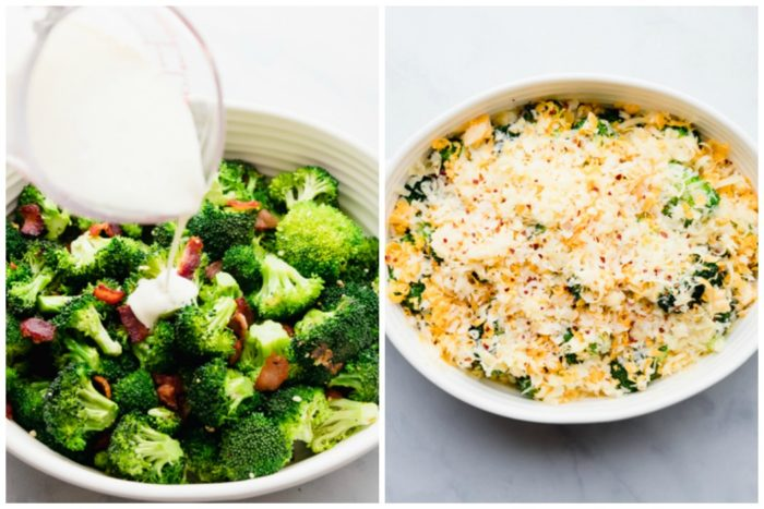 Step three, making broccoli cheese casserole. The image on the left shows half the broccoli and bacon mixture in a white casserole dish with heavy cream being poured on top. The image on the right shows broccoli topped with cheese in a white casserole dish ready to bake, by The Food Cafe.