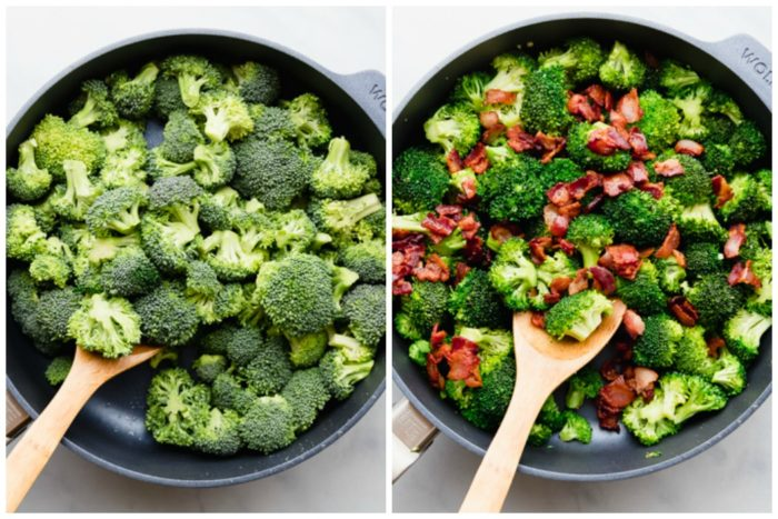 Step two, making broccoli cheese casserole. Image on left shows raw broccoli in a large skillet with wooden mixing spoon. Image on the right shows broccoli cooked until bright green and bacon added to skillet, perfect low carb side dish by The Food Cafe.