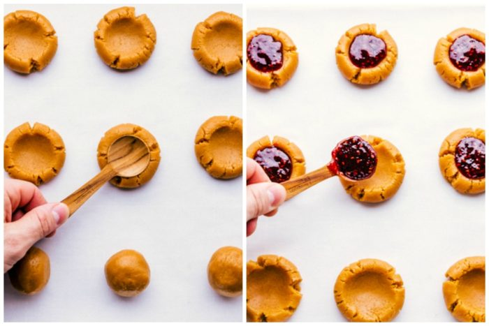 Third step of peanut butter thumbprint cookies. Image on the left shows how to make small wells in peanut butter cookie, image on the right shows placing raspberry jelly into the wells of the thumbprint cookies, by The Food Cafe