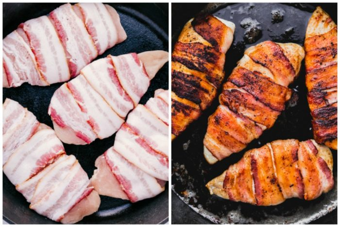 bacon wrapped chicken before cooking and after cooking in skillet.