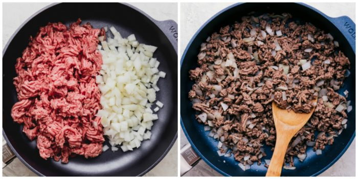 Step one making cheeseburger macaroni, image on the left shows the raw ground beef and onions in large skillet, and the image on the right shows the ground beef and onions cooked, by The Food Cafe.