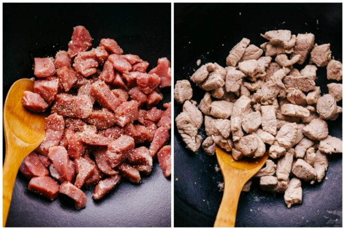 Two images showing uncooked cubed pork in a wok seasoned with salt and pepper with a wooden spoon to stir, and image on the right shows the pork stir fried and cooked ready to make sweet and sour pork by The Food Cafe