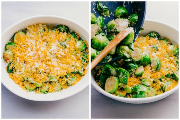 Two images on how to make brussels sprouts casserole. The image on the left shows brussels sprouts in an oval shaped white baking dish with grated cheese on top, the image on the right shows the brussels sprouts being poured into an oval shaped white baking dish to top off the casserole and bake, by The Food Cafe.
