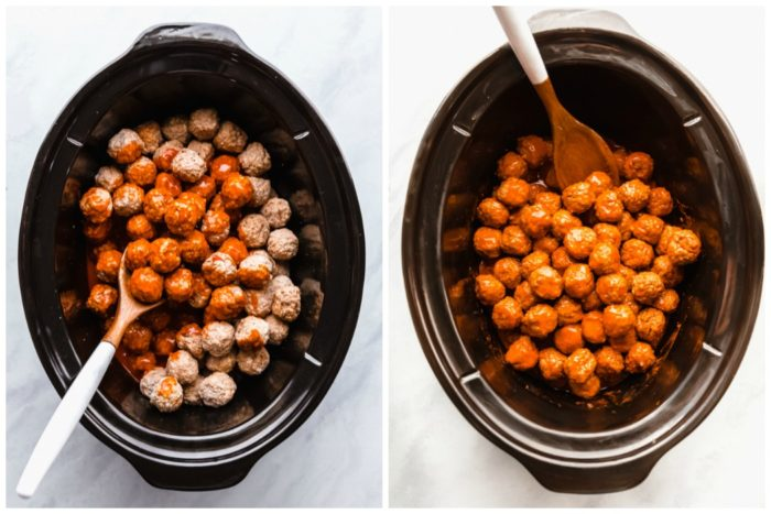 Two images showing the final steps in making buffalo chicken meatballs. The image on the right shows the meatballs in a black slow cooker with buffalo sauce poured on top, the image on the right shows the buffalo meatballs all mixed together with the buffalo sauce ready to cook, by The Food Cafe