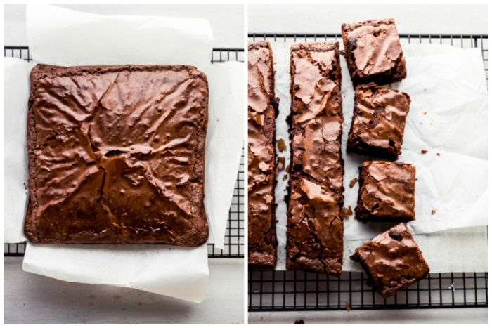 Two images, the image on the left shows baked peppermint brownies removed from baking dish by parchment paper and cooling on a black wire cooling rack, the image on the right shows the peppermint brownies cut into squares on white parchment paper sitting on top of a black wire cooking rack, by The Food Cafe.