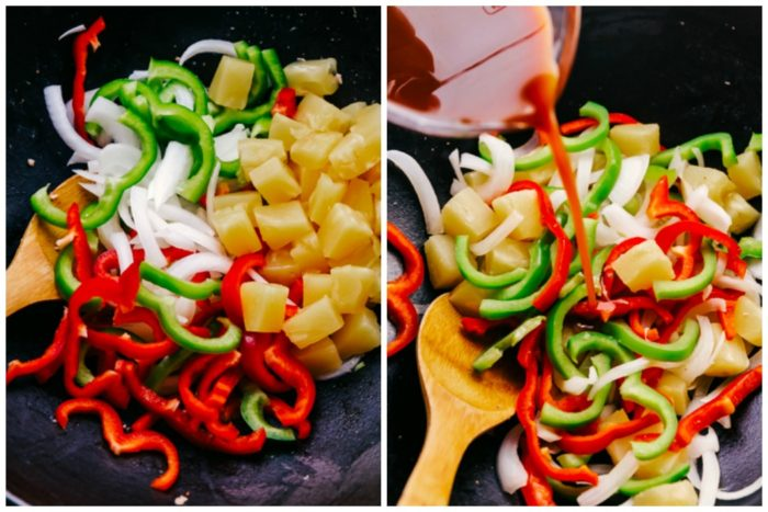 Two images, the one on the left shows green pepper, red pepper, onions, and pineapple cut and placed in a wok, the image on the right shows the green pepper, red pepper, onions, and pineapple chunks stir-fried with sweet and sour sauce being poured on top to make Sweet and Sour Pork by The Food Cafe