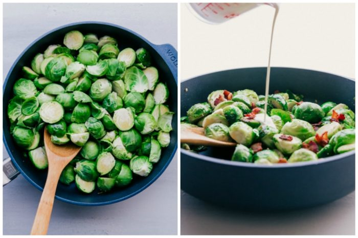 Two images of brussels sprouts in a skillet. The image of the left shows the brussels sprouts uncooked in a skillet with wooden mixing spoon, the image on the right shows the brussels sprouts sautéed and cream being poured over the top to make brussels sprouts casserole, by The Food Cafe.