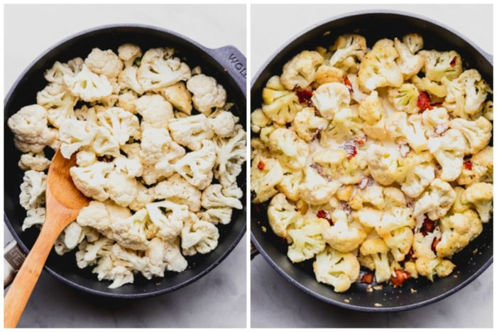 step two in making cheesy cauliflower casserole. The image on the left contains raw chopped cauliflower in a large skillet, the image on the right shows cauliflower cooked with cream and bacon, by The Food Cafe.