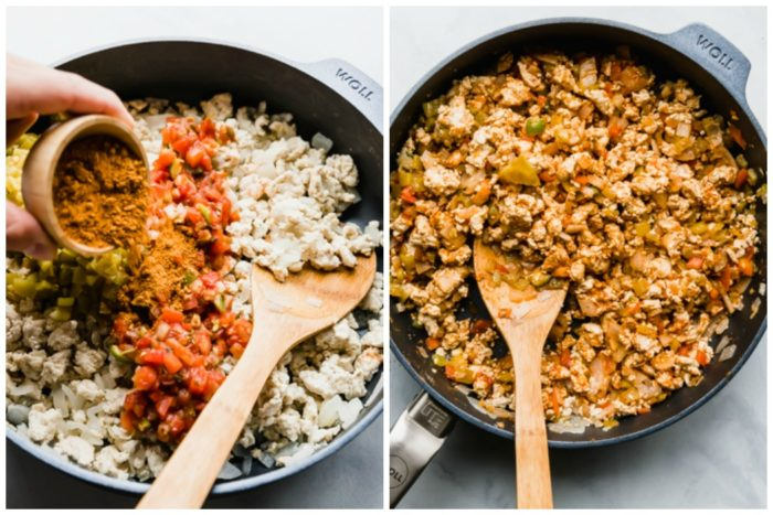 making baked chicken tacos, the image on the left shows the taco seasoning being added to the skillet with ground chicken, green chilis, and salsa, the image on the right shows everything mixed together for the chicken tacos, by The Food Cafe.