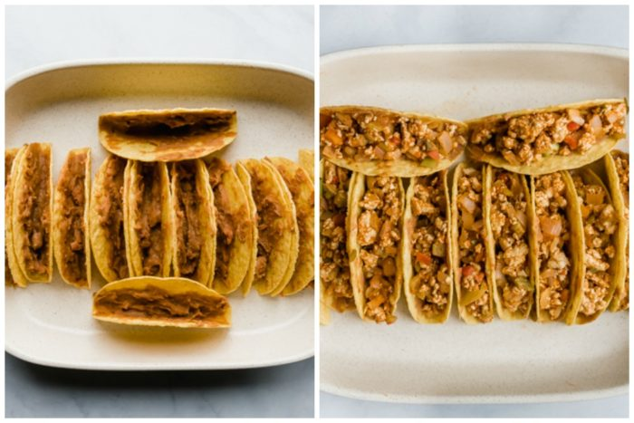 Step 3 in making baked chicken tacos the image on the left has tacos shells filled with refried beans in a casserole dish, the image on the right shows the same hard taco shells but filled with chicken taco mixture by The Food Cafe.