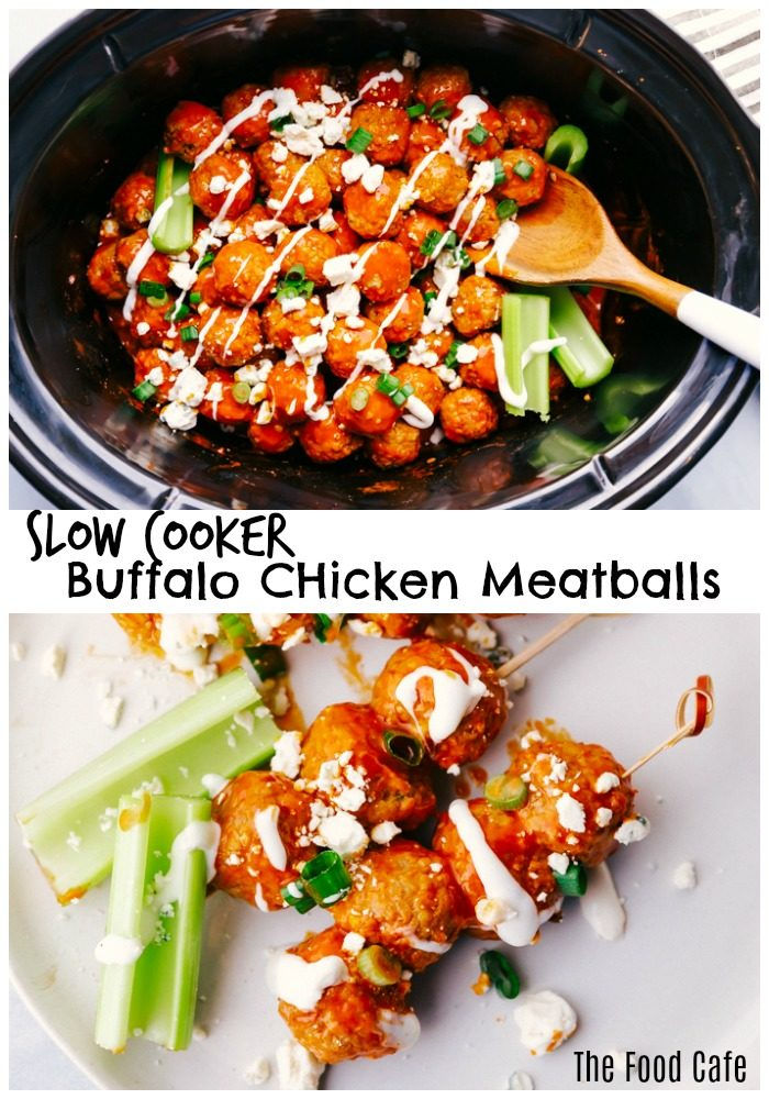 Buffalo chicken meatballs in a black slow cooker and on a white plate, show how you can serve them both ways garnished with blue cheese crumbles, diced green onions, and blue cheese dressing by the food cafe.