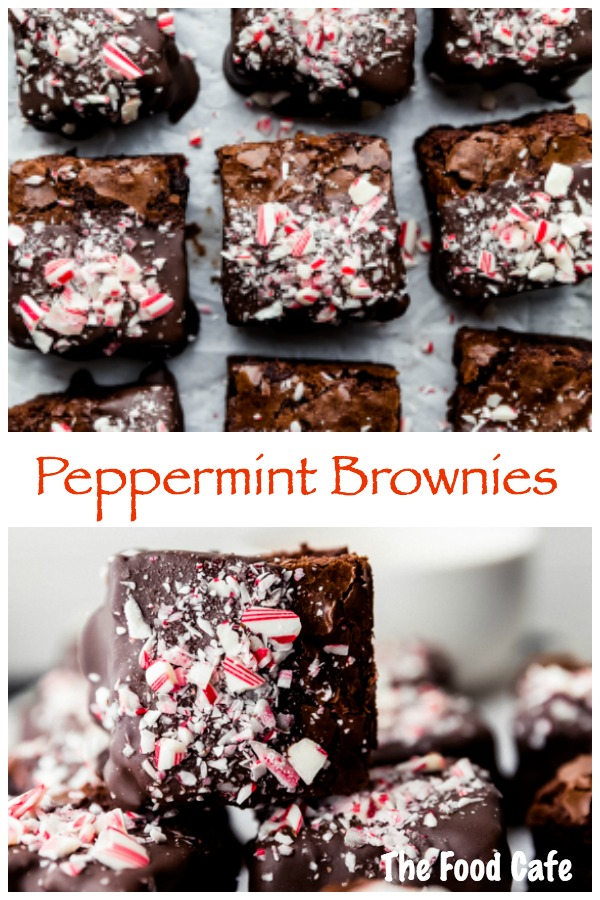 Peppermint Brownies dipped in chocolate sprinkled with crushed candy canes by The Food Cafe