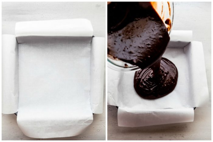 Two images being shown, the image on the left shows how to line a 8X8 baking dish with parchment paper for the peppermint brownies, and the image on the right shows the mixed brownie batter being poured into the prepared baking dish, by The Food Cafe
