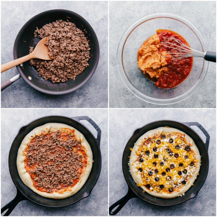 Four step process showing how to put taco pizza together, by cooking ground beef in a skillet, mixing refried beans and salsa for sauce, placing sauce and ground beef on pizza and topping with grated cheese and olives to make Taco Pizza by The Food Cafe.