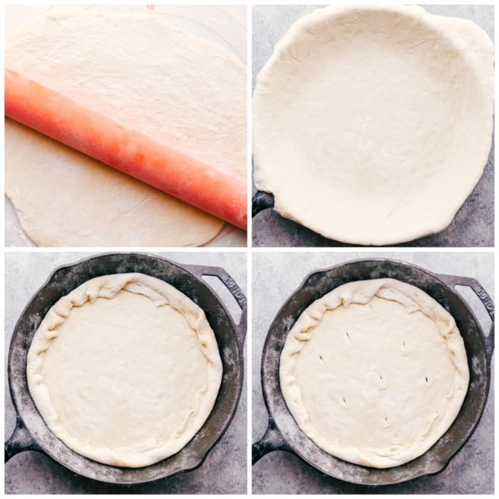 4 step process showing how to roll out pizza dough and place in a cast iron skillet, fold the edges inward to form a crust and cut 1 inc slits in bottom of dough for the air to circulate through when cooking to make Taco Pizza by The Food Cafe.