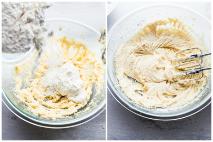 Two images show how to make sugar cookie crust for fruit pizza by The Food Cafe. The image on the left shows pouring the dry ingredients into the creamed ingredients and the image on the right shows all the ingredients mixed and incorporated using an electric mixer.