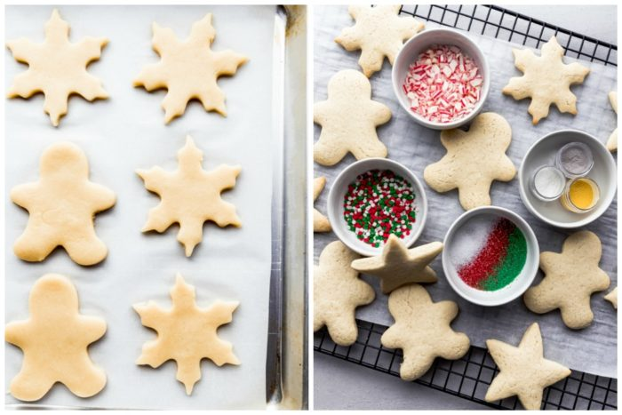 two images of the best sugar cookies by The Food Cafe. The image on the left shows the sugar cookies cut out and placed on a silver rimmed baking sheet lined with parchment paper, the image on the right shows the sugar cookies baked with different holiday candy and sprinkles to decorate the cookies with.