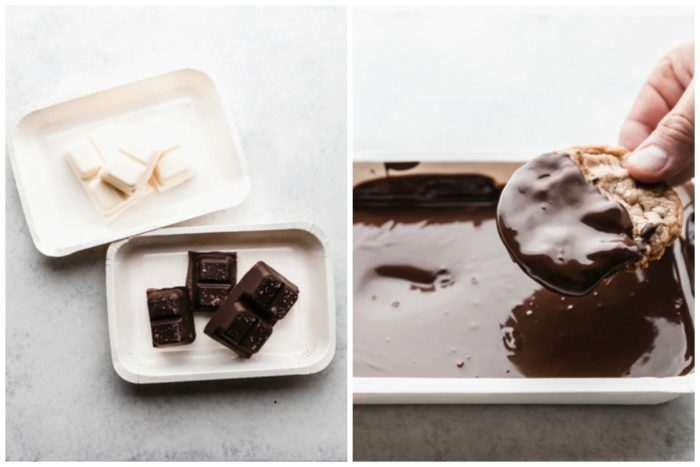 Two images showing how to melt dark and white chocolate in microwavable trays and then how to dip the chocolate chip cookie into the chocolate for chocolate dipped cookies, by The Food Cafe.