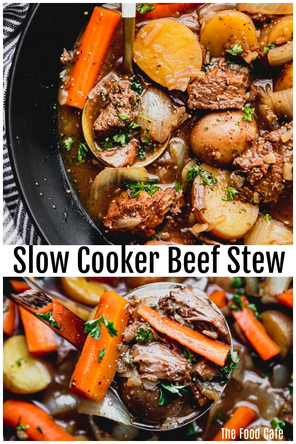 Easy beef stew slow cooker recipe made in a black slow cooker with baby red potatoes, diced carrots and onions, beef tips with a gravy broth, simple and easy by The Food Cafe.