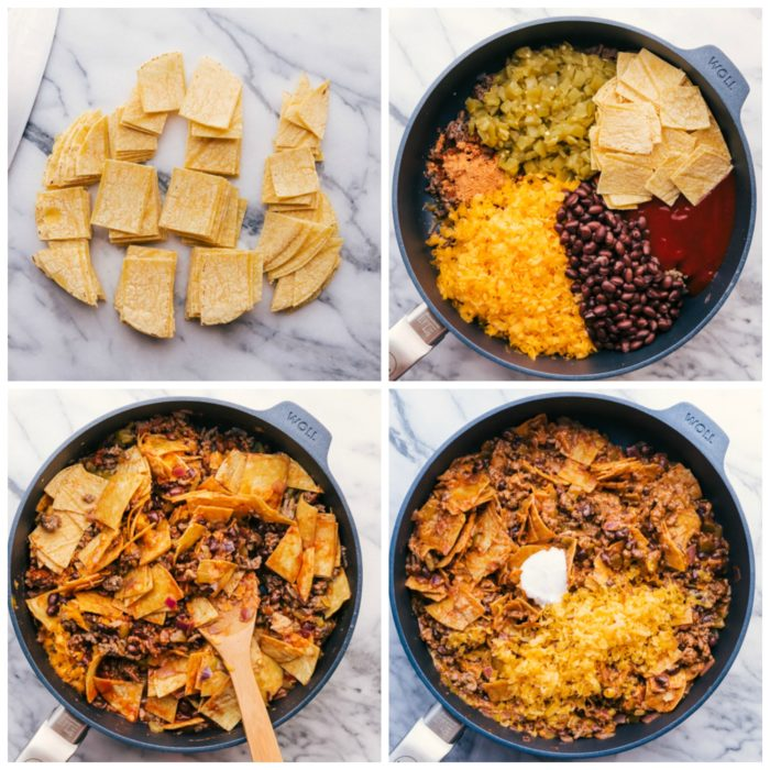 Four images showing the steps to making beef tacos in a skillet. The fist image shows cutting the corn tortialls into 1-inch pieces, the next step is adding grated cheese, black beans, taco sauce, taco seasoning, green chilis, and the corn tortialls, the third step is mixing and cooking all the ingredients until heat through and cheese is melted, the last step is adding additional grated cheddar cheese and a tablespoon of sour cream for a meal in less than 30 minutes, by The Food Cafe.