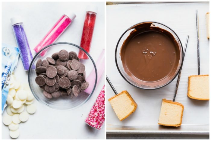 Two images showing chocolate used for chocolate dipped cake pops. The image on the left shows the dark chocolate wafers in a clear bowl with the white chocolate wafers along side on a white background with five different types of sprinkles in plastic containers. The image on the right shows the dark chocolate melted with the cake pops with silver straws ready to be dipped, by The Food Cafe.