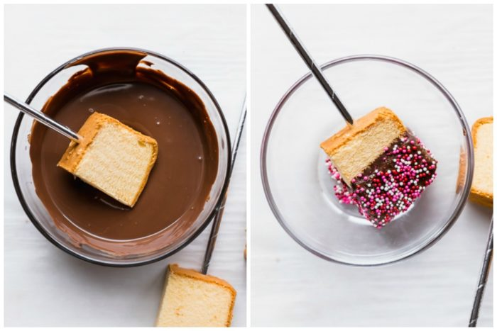 Sept 4 in making chocolate dipped cake pops. The image on the left shows the dark chocolate melted inside a clear bowl and the cake pop being dipped into the melted chocolate. The image on the right shows the cake pop decorated with sprinkles resting inside a clear bowl to let chocolate harden, by The Food Cafe.