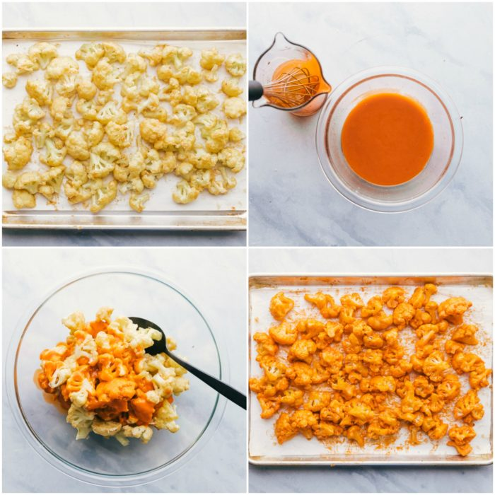 Four images showing how to make buffalo cauliflower bites, the image on the upper left shows the cauliflower on a rimmed baking sheet, the upper right images shows the buffalo sauce in a clear bowl, the image on the lower left shows mixing the buffalo sauce with the cauliflower with a black spoon in a clear bowl, and the image on the lower right showers the buffalo cauliflower spread out on the sheet pan ready to be broiled, by The Food Cafe.