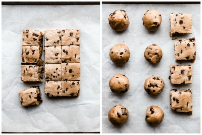 Two images showing how to make chocolate dipped cookies. The image on the left shows the cookie dough cut into squares, the image on the right shows how to roll the chocolate chip cookie dough into balls and placed on a rimmed baking sheet lined with parchment paper to be baked, by The Food Cafe.