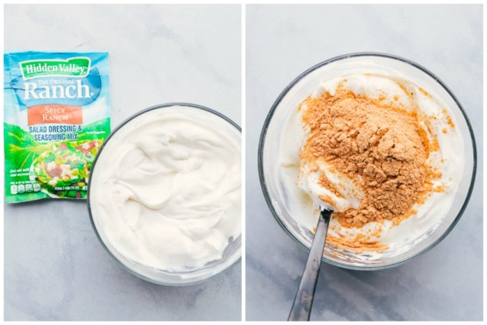 2 images showing how to make buffalo dip for buffalo cauliflower bites. The image on the left shows the packet of spicy ranch seasoning mix with a bowl of sour cream, the image on the right shows the spicy ranch seasoning mix and sour cream being mixed together in a clear bowl with black spoon, by The Food Cafe